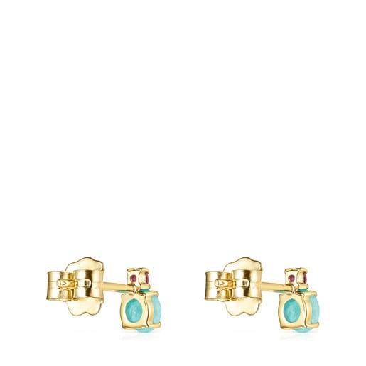 Pendientes Mini Ivette de Oro con Amazonita y Rubí