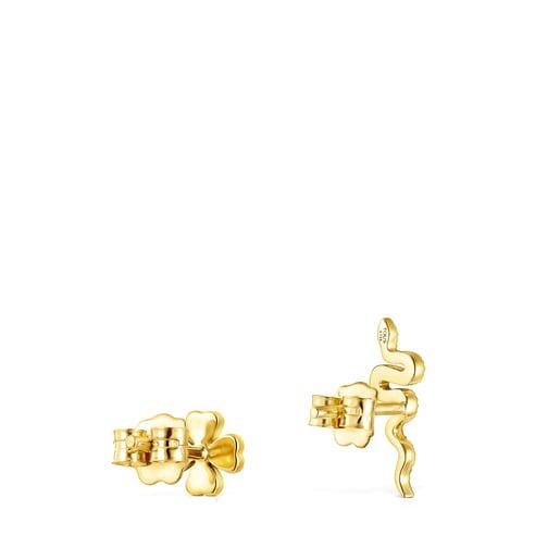 Aretes TOUS Good Vibes trébol - serpiente de oro y diamantes