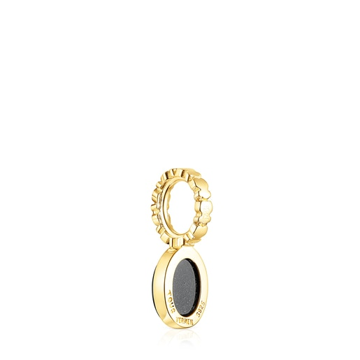 Silver Vermeil Straight Pendant with Onyx