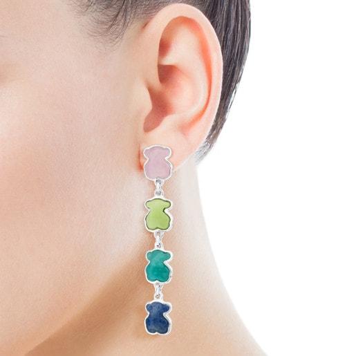 Σκουλαρίκια New Color από ασήμι με πολύτιμους λίθους
