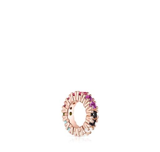 Anilla Straight de Plata Vermeil rosa y Gemas