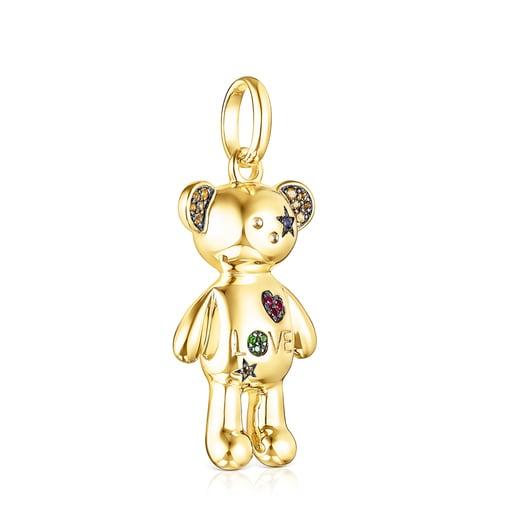 Colgante Teddy Bear Stars de plata vermeil y gemas