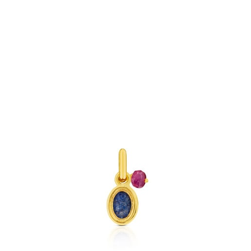 Vermeil Silver Tiny Pendant with Dumortierite and Ruby
