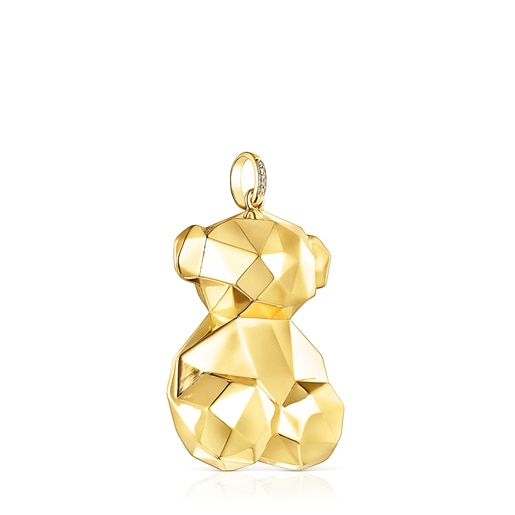 Large Gold Sketx Pendant with Diamonds