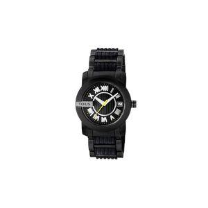 Rellotge Oto Round d'acer amb corretja de silicona negra