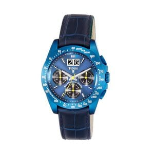 Blue anodized Steel Drive Crono Watch with blue Leather strap
