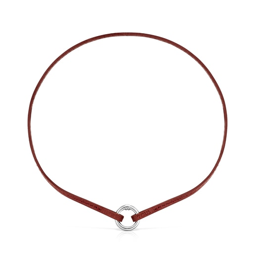 Hold Bracelet and Choker Pack in red Leather