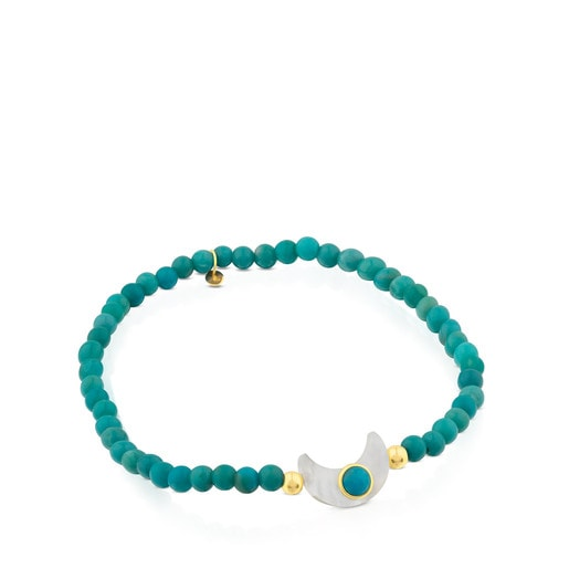 Bracelet Super Power en Turquoises avec Or et Nacre