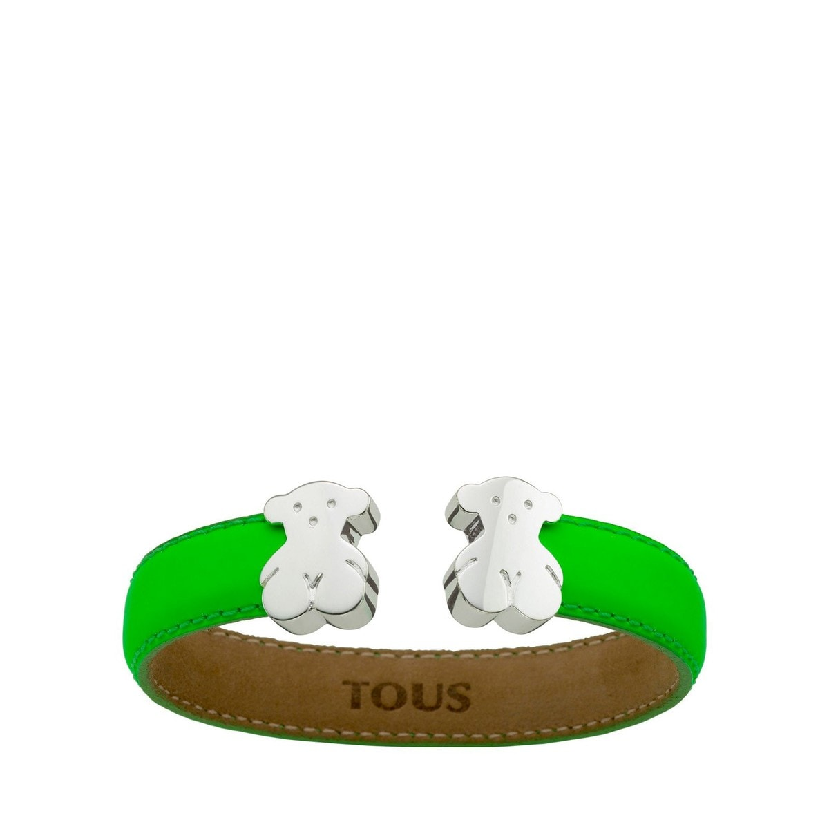 TOUS Bear Cuff with Silver in Leather
