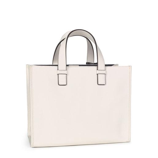 Medium white Amaya Saffiano Shopping bag with bear