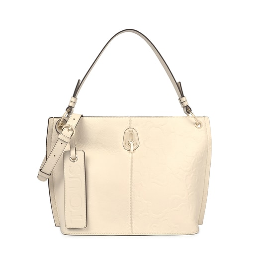 Large beige Leather TOUS Icon One shoulder bag