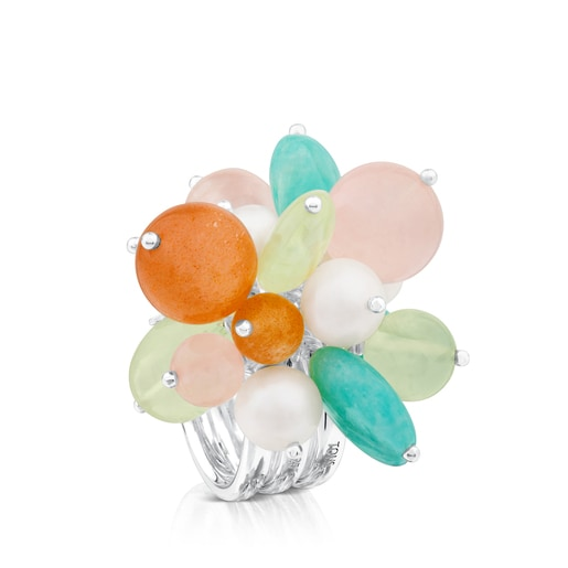 Amelie Ring in Silver with Beryl, Pink Quartz and Pearl