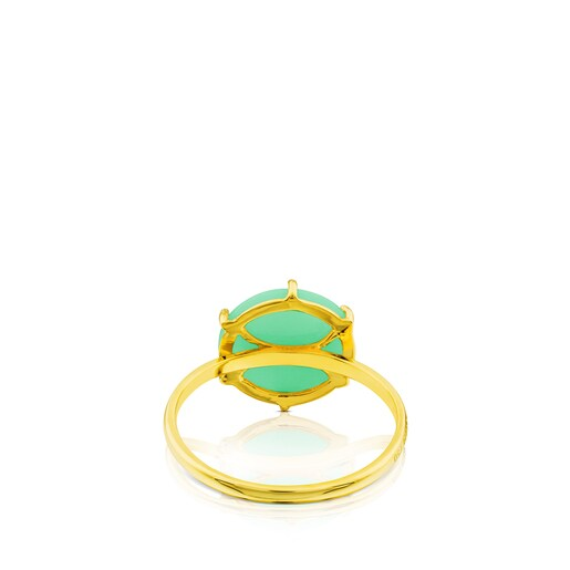 Gold Tack Conica Ring with chrysoprase