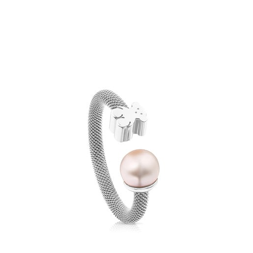 Silver TOUS Mesh Ring with pearl