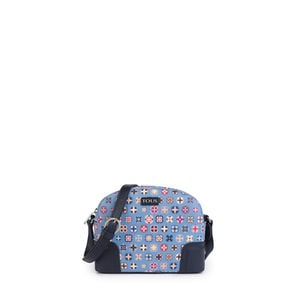 Blue Canvas Mossaic Tie Crossbody bag
