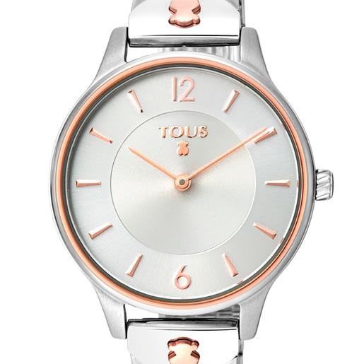 Reloj Len bicolor de IP rosado/acero