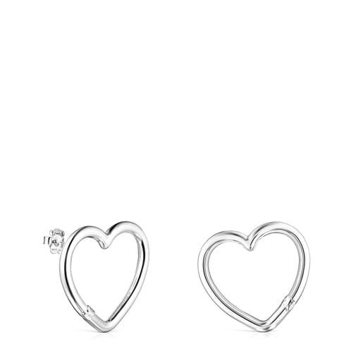 Boucles d'oreilles Hold cœur grandes en Argent