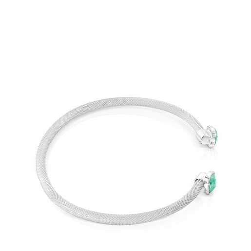 Fine Silver Mesh Color Bracelet with Amazonite