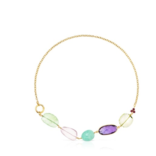 Gold Luz Necklace with Gemstones
