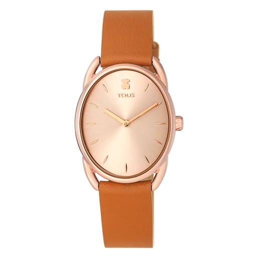Rose IP Steel Dai Watch with brown Leather strap