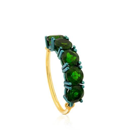Ring Titanio aus Titan und Gold mit Diopsid