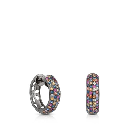 Silver TOUS Fantasy Earrings with multicolor Sapphires