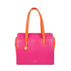 Shopping Rose Bear de Piel en color fucsia-naranja