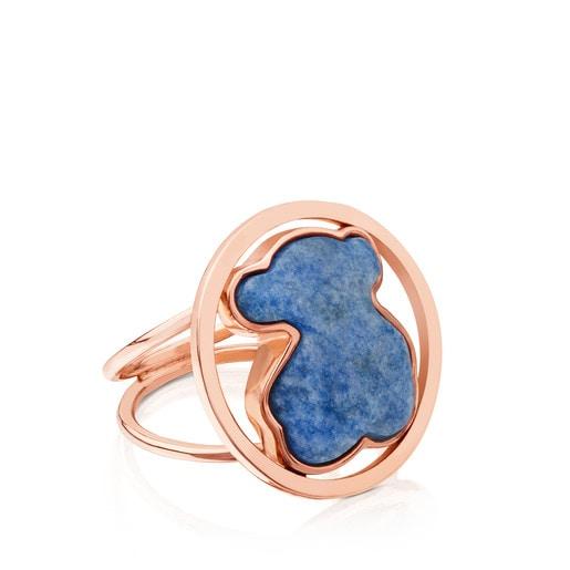 Δαχτυλίδι Camille από ροζ Ασήμι Vermeil με Χαλαζία και Ντουμορτιερίτη