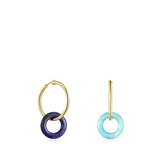 Boucles d'oreilles Hold Gems en Or Vermeil avec Amazonite et Lapis-Lazuli