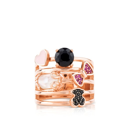 Pink Vermeil Silver Join Ring with Quartz