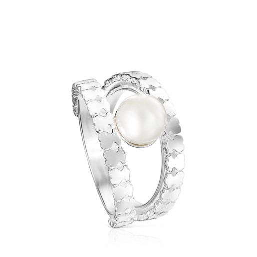 Silver Straight strips Ring with Pearl