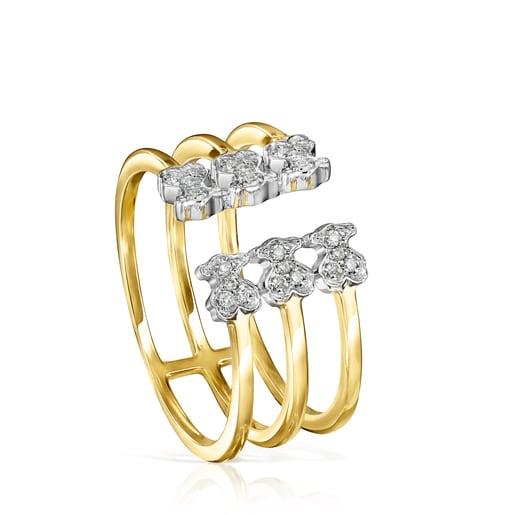Gold Les Classiques open Ring with six Diamonds Bear motifs