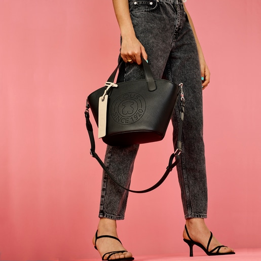 Small black Leather Leissa Shopping Bag