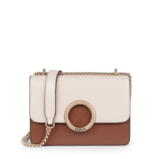 Small beige and brown Audree crossbody bag