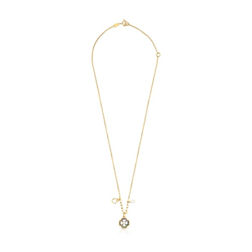 Silver Vermeil TOUS Good Vibes clover Necklace with Gemstones