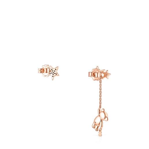 Pendientes corto/largo Teddy Bear Stars de plata vermeil rosa, espinela y rubí