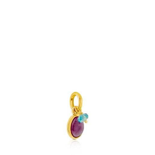 Anhänger Tiny aus Vermeil-Silber mit Rubin und Apatit