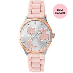 Rellotge Sweet Power d'acer IP rosat amb corretja de silicona rosa