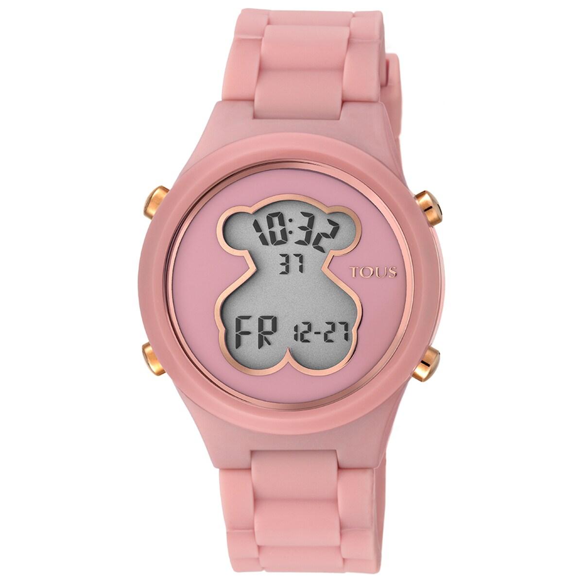 Reloj D-Bear de policarbonato con correa de silicona coral