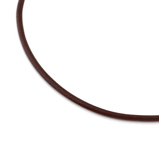 Gargantilla TOUS Chokers de Cuero de 3mm marrón con cierre de Oro, 42cm.