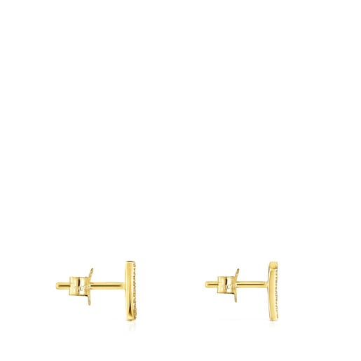 Gold TOUS Good Vibes mini cornucopia Earrings with Diamonds