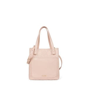 Small colored pink Leather Mossaic Tote bag
