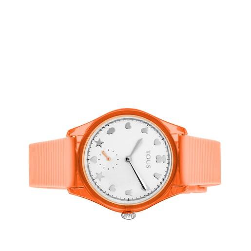 Reloj Free Fresh de acero y policarbonato con correa de silicona coral