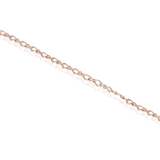 Βραχιόλι Αστραγάλου TOUS Chain σε σχήμα ρόμβου από ροζ Ασήμι Vermeil