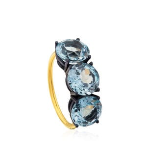 ATELIER Titanium Ring with Gold and Topazes
