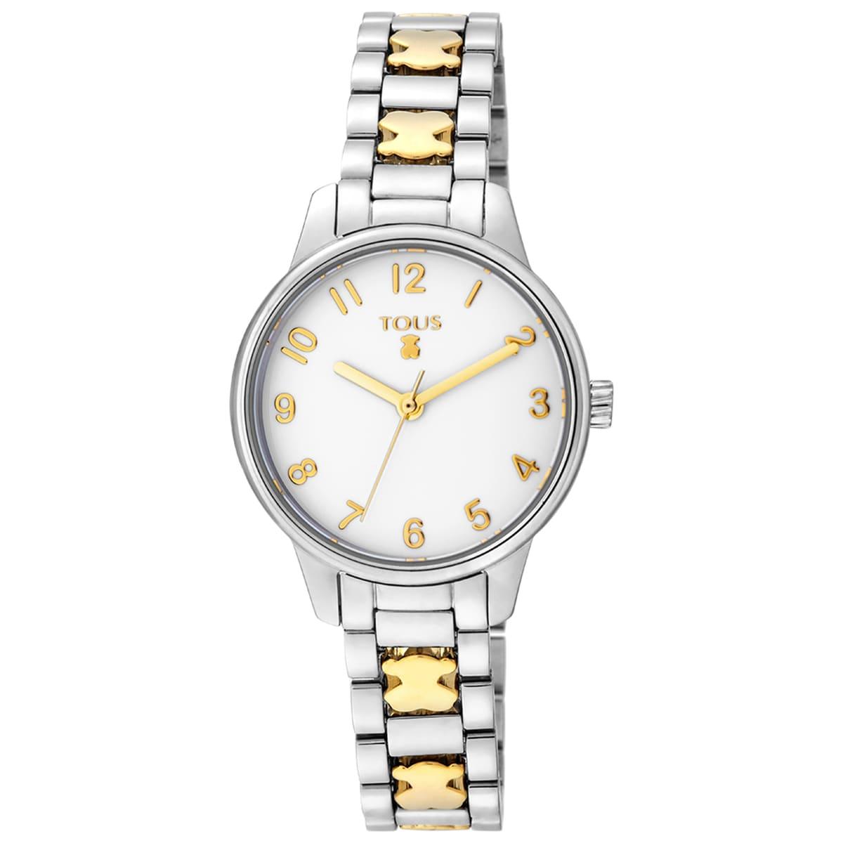 Relógio Beary em aço com bracelete de ursos IP dourado
