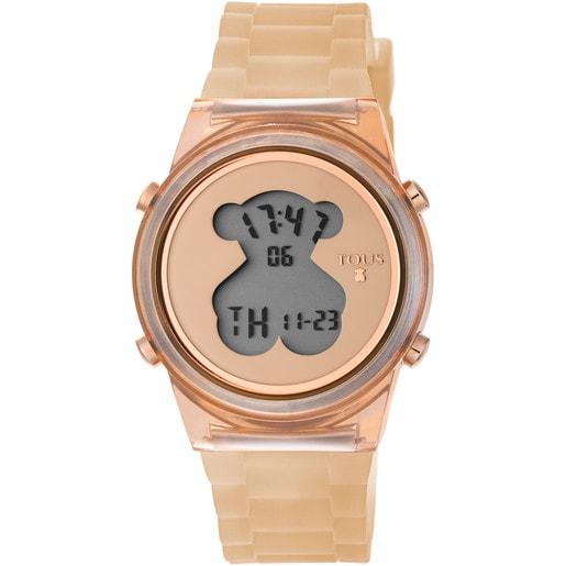 Reloj D-Bear Fresh de policarbonato con correa de silicona nude