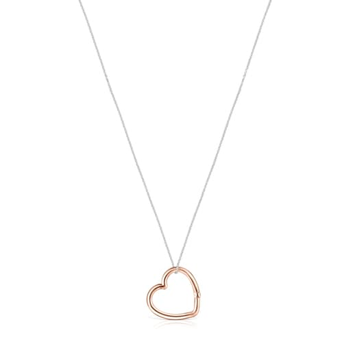 Hold heart Necklace in Silver and Rose Vermeil