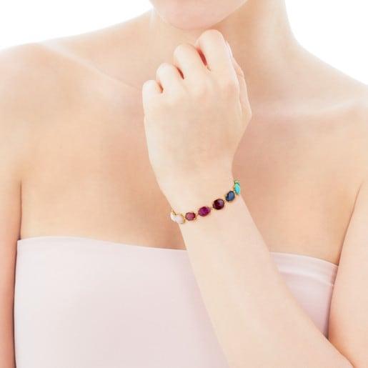 Gold Beethoven Bracelet with thirteen multicolor Gemstones
