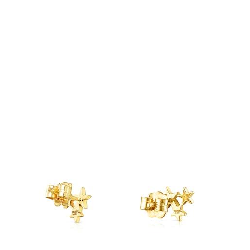 Aretes Teddy Bear Stars de Oro y Diamantes